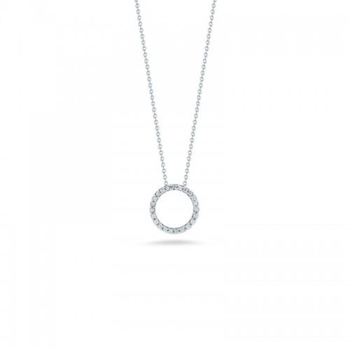 Roberto Coin  White Gold Diamond Extra Small Circle Necklace