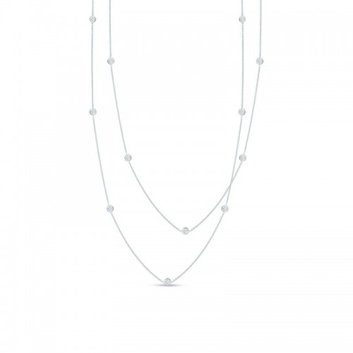 Roberto Coin  White Gold 5 Station Diamonds By The Inch Necklace
