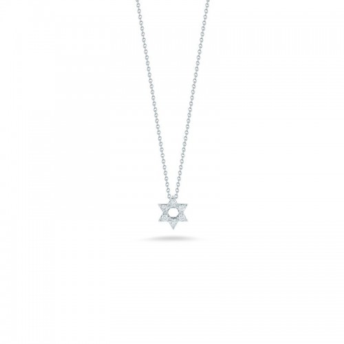 Roberto Coin  White Gold Diamond Star Of David Necklace