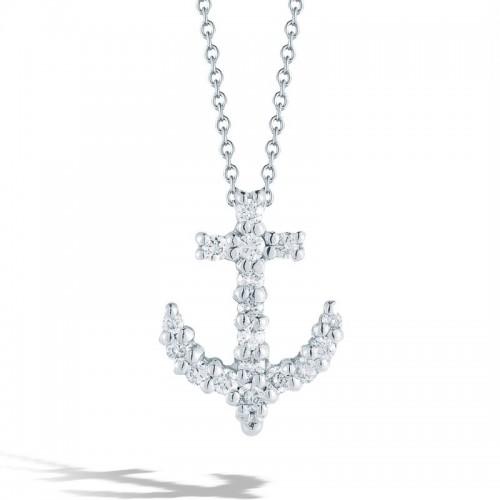 Roberto Coin White Gold Diamond Baby Anchor Necklace