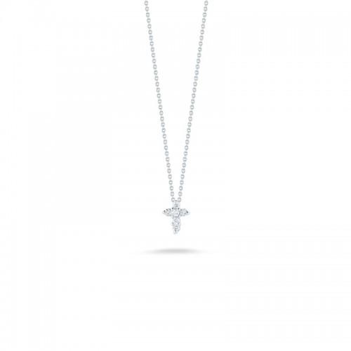 Roberto Coin  White Gold Diamond Baby Cross Necklace