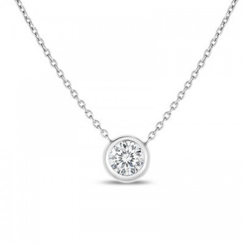 Roberto Coin  White Gold Single Diamond Station Necklace