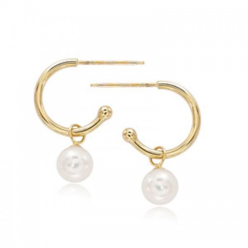Pd Collection Yg 1.5X12Mm W/ 6Mm Pearl Earrings