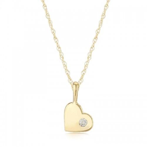 Pd Collection Yg Heart Pendant W/ .03Ctw Diamond
