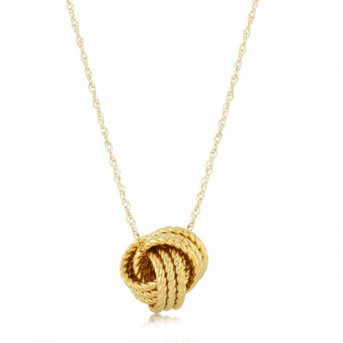 PD Collection Yg Twisted Love Knot Pendant Necklace 18