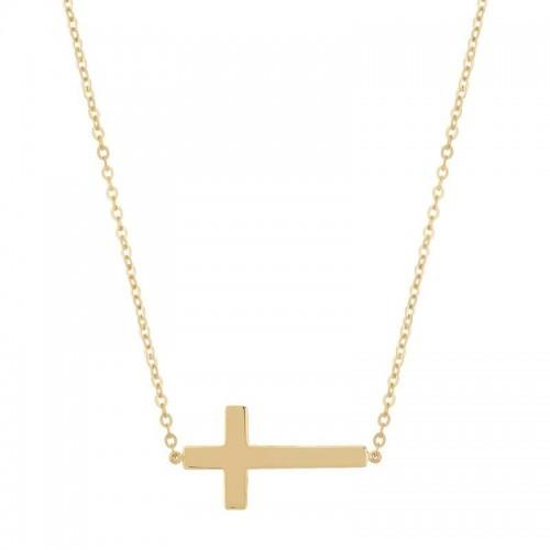 Pd Collection Yg Plain Cross Necklace