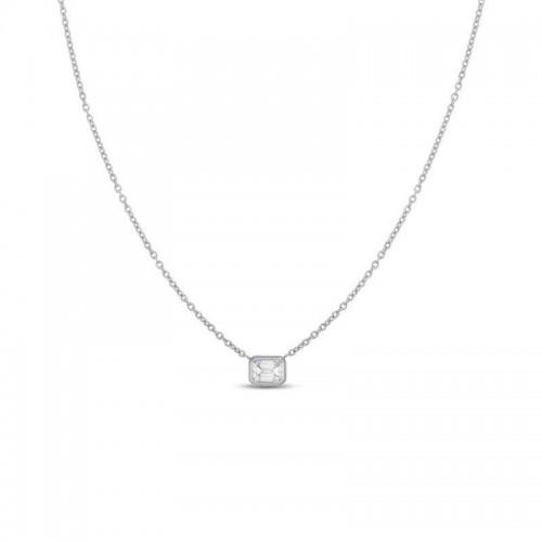 Roberto Coin  White Gold Emerald Cut Diamond Pendant