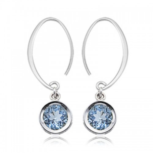 Pd Collection Ss Blue Topaz Mini Drop Earrings