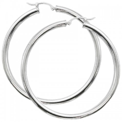 Pd Collection Ss 3X50Mm S/D Tube Hoop Earrings