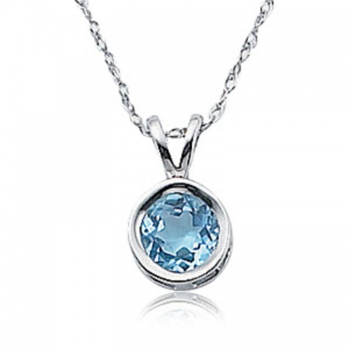 Pd Collection Ss 6Mm Round Blue Topaz Pendant Necklace