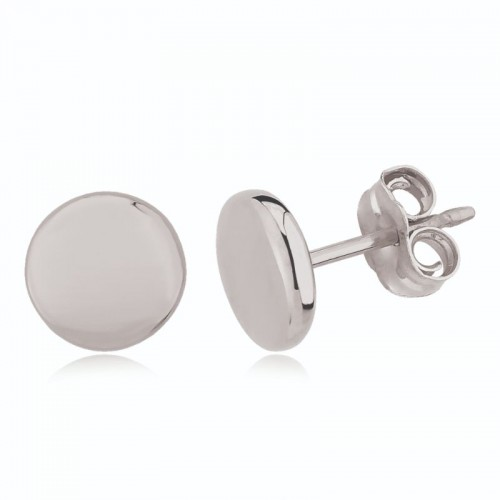 PD Collection Ss 8Mm Flat Round Stud Earrings