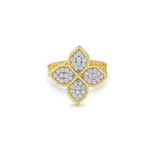 Roberto Coin Yellow and White Gold Princess Flower  Diamond  Ring - Large