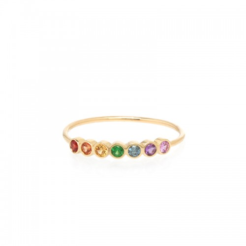 Zoe Chicco 7 Rainbow Sapphires Bezel Ring