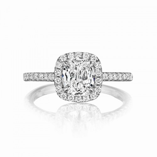 Henri Daussi cushion halo single shank diamond engagement ring featuring a Signature Daussi Cushion cut diamond.  Set in Platinum.