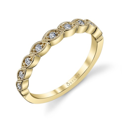 Sylvie .16Ctw 14K Wg Diamond Stackable Band