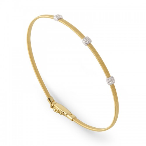 Marco Bicego 18K Yellow Gold Massai Collection Bracelet With 3 Diamond Pave With .09Ctw 6.75