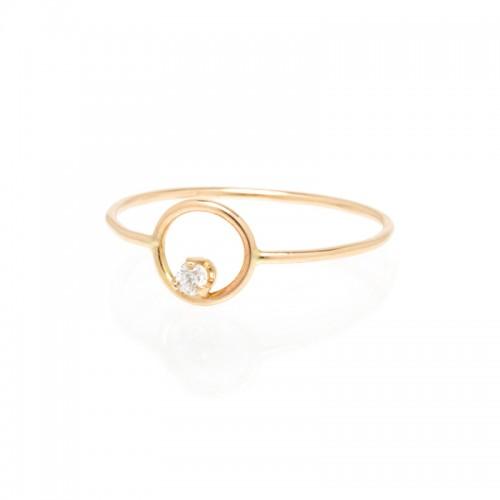 Zoe Chicco small single diamond circle ring