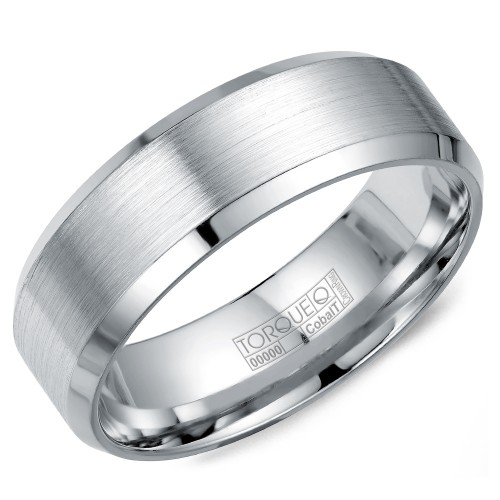 A white cobalt Torque band with a brushed finish and beveled edges.