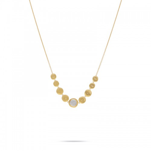 Marco Bicego 18K Yellow Gold Jaipur Collection Diamond Necklace .14Ctw 16.5