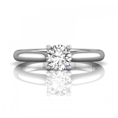 FlyerFit® 14K White Gold Solitaire Engagement Ring