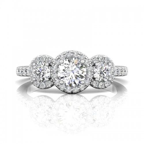 FlyerFit® 14K White Gold Three Stone Engagement Ring