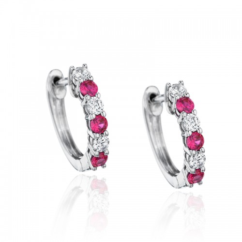 Bold Beauty Alternating Ruby and Diamond Hoops
