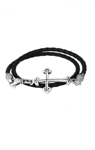 KB Ss Thin Double Wrapped Leather Cross Bracelet