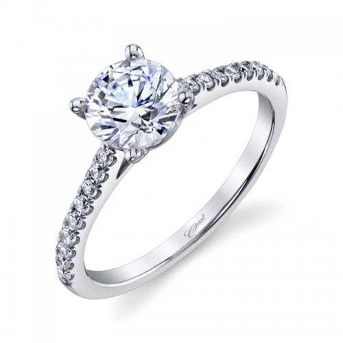 14K White Gold Semi Mount With .17Ctw For A 8.5X6.5 Oval