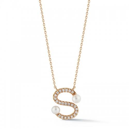 Dana Rebecca Pearl & Diamond Initial  Necklace