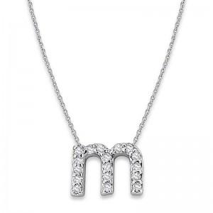 Bitty Diamond Initial Pendant M