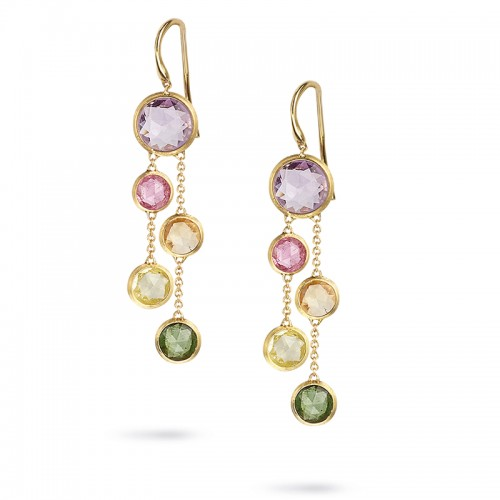 Marco Bicego 18K Yellow Gold Jaipur Collection Two Strand Earrings With Rose Cut Cushion Multi-Colored Semi-Precious Gemstones