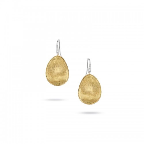 Marco Bicego 18K Yellow Gold Lunaria Hook Earrings With Diamonds With .05Tdw