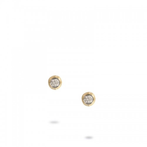 Marco Bicego 18K Yellow Gold Delicati Stud Earrings With Pave Diamonds .15Tw
