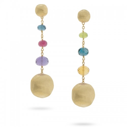Marco Bicego 18K Yg And Multi-Colored Africa  Gemstone Drop Earrings