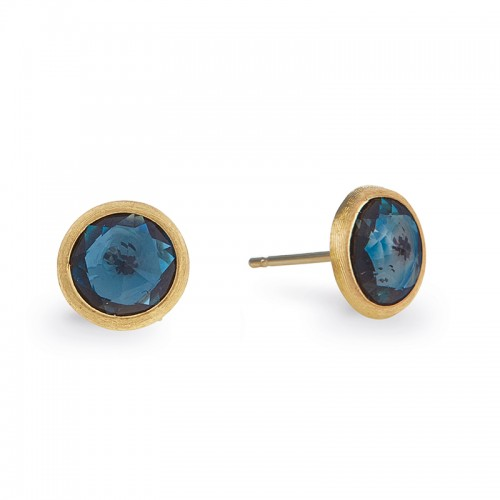 Marco Bicego 18K Yellow Gold Jaipur Collection Blue Topaz Petite Stud Earrings