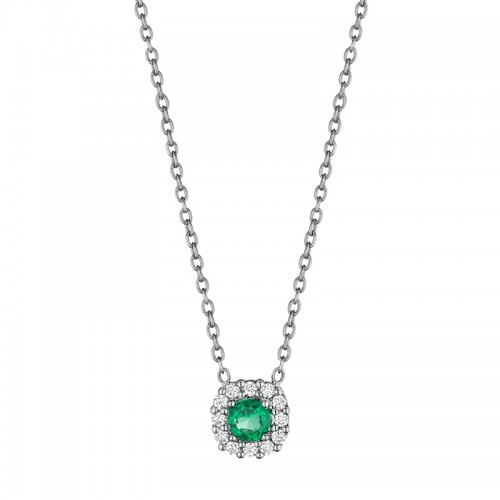 Classic Emerald and Diamond Halo Pendant