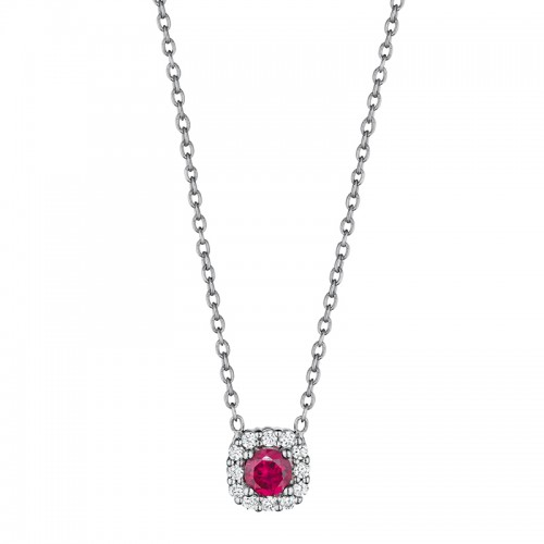 Classic Ruby and Diamond Halo Pendant