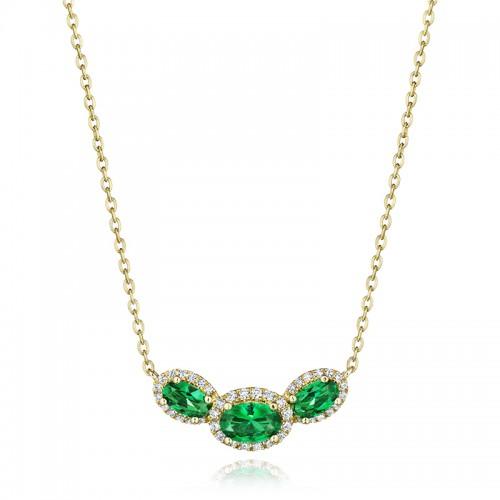Always On My Mind Emerald and Diamond Three-Stone Oval Pendant