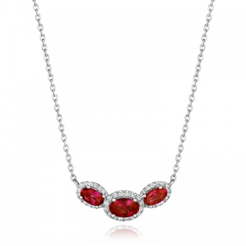 Always On My Mind Ruby and Diamond Three-Stone Oval Pendant