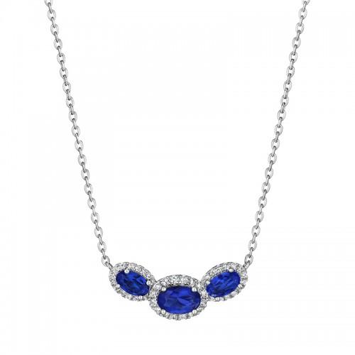 Always On My Mind Sapphire and Diamond Three-Stone Oval Pendant