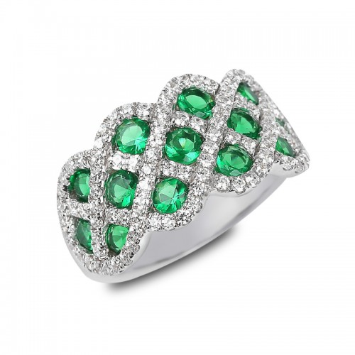 You And Me Emerald and Diamond Interweaving Ring