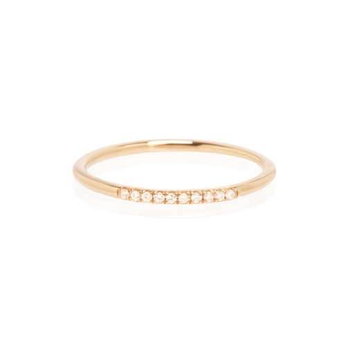 Zoe Chicco round band ring with 10 french pave diamonds
