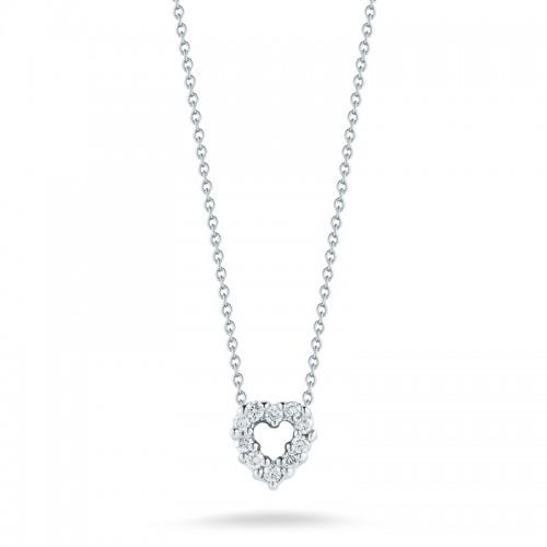 Roberto Coin  White Gold Diamond Baby Heart Necklace