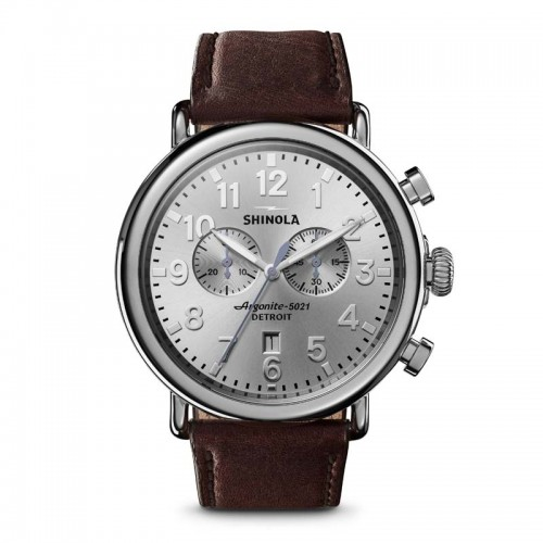 Runwell Chrono 47mm, Cattail Brown Leather Strap Watch