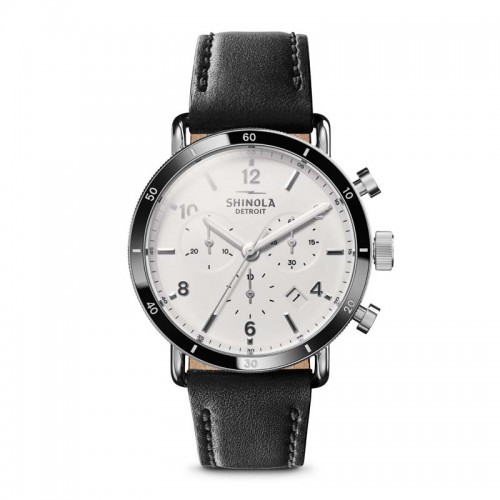 Canfield Sport 40mm, Black Leather Strap Watch