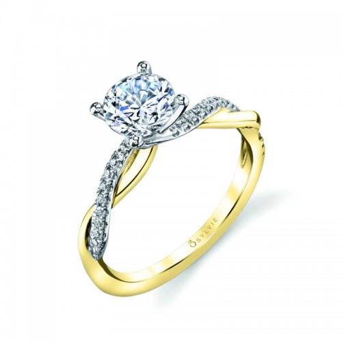 Sylvie Spiral Round Engagement Ring