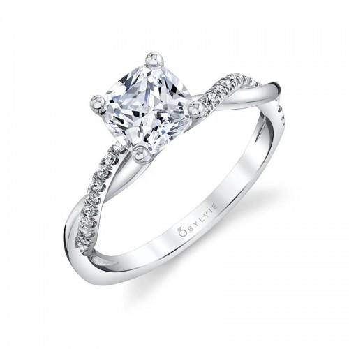 Sylvie Spiral Cushion Engagement Ring