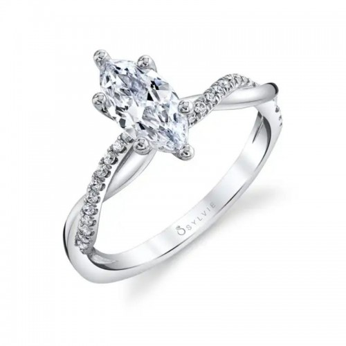 Sylvie Spiral Marquise Engagement Ring