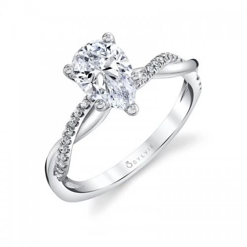 Sylvie Spiral Pear Engagement Ring