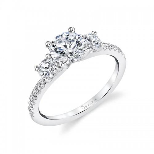 Sylvie Gemma Three Stone Engagement Ring